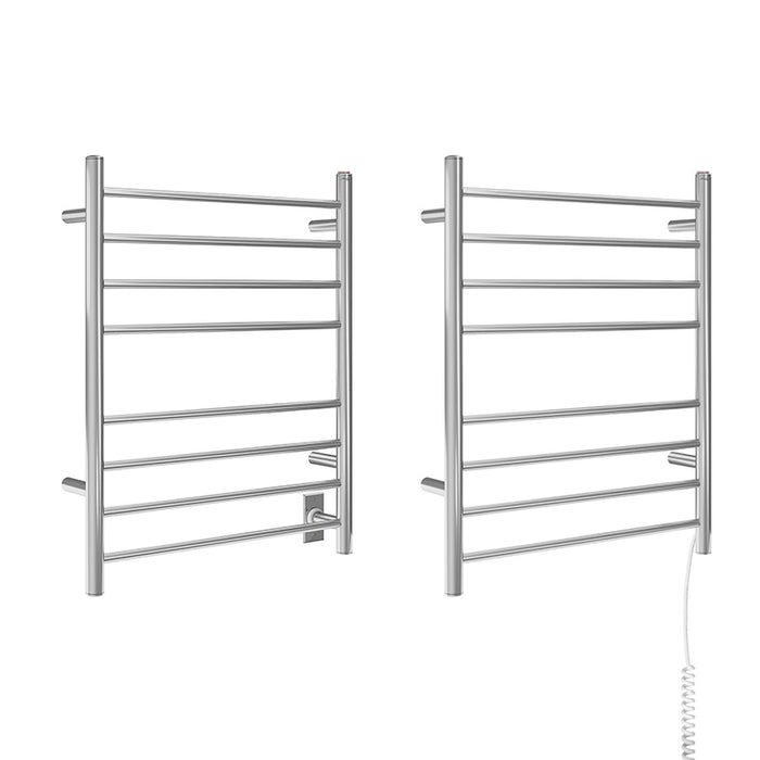 Ancona Prestige Dual 8-Bar Hardwired and Plug-in Towel Warmer in Polished Stainless Steel