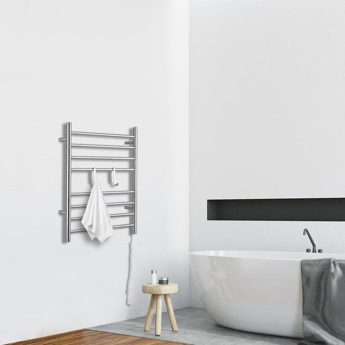 Ancona Prestige Dual 8 Bar Hardwired and Plug-in Towel Warmer with 2 Adjustable Hooks in Brushed Stainless Steel