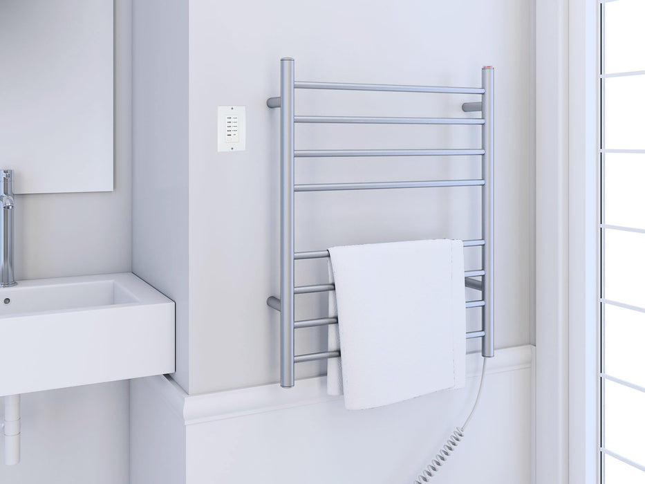 Prestige Dual 8-Bar Hardwired and Plug-in Towel Warmer in Brushed Stainless Steel with Wall Countdown Timer