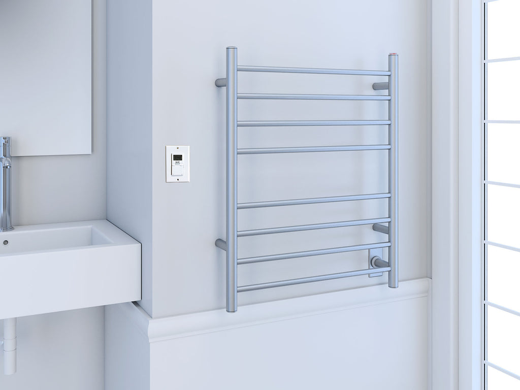 Ancona Prestige Dual 8 Bar Hardwired And Plug In Towel Warmer In Brushed Stainless Steel