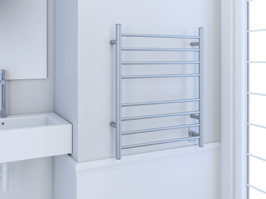 Prestige Dual 8-Bar Hardwired and Plug-in Towel Warmer in Brushed Stainless Steel
