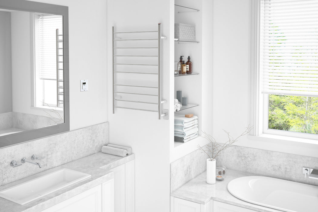 Novara Dual 10-Bar Wall Mount Towel Warmer in Polished Stainless Steel with Timer