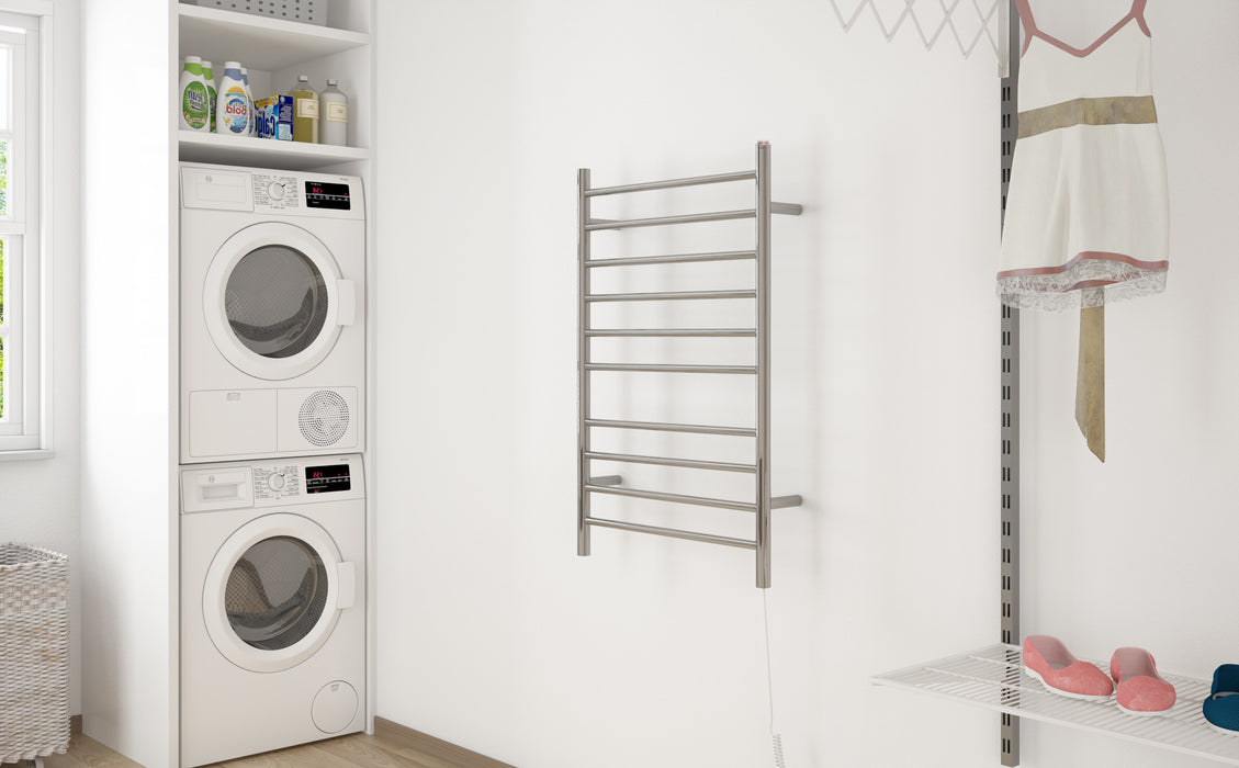 Novara Dual 10-Bar Wall Mount Towel Warmer in Polished Stainless Steel