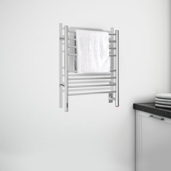 Prestige OBT 8-Bar Wall Mounted Towel Warmer with Integrated On-Board Timer in Brushed Stainless Steel