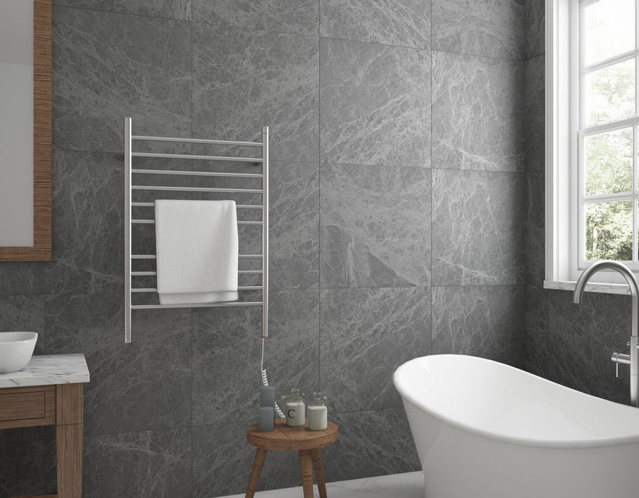 Argenta OBT 10-Bar Hardwired and Plug-in Electric Towel Warmer with Integrated On-Board timer in Brushed Stainless Steel