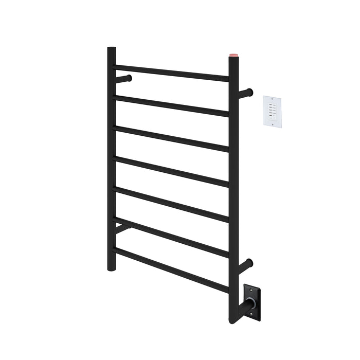 Comfort 7-Bar Hardwired Towel Warmer in Matte Black with Wall Countdown Timer
