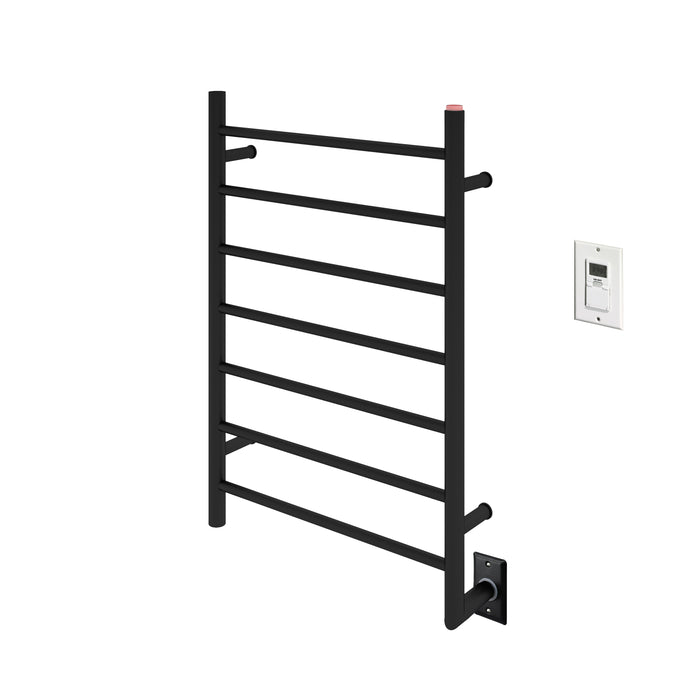 Comfort 7-Bar Hardwired Towel Warmer in Matte Black with Wall Timer