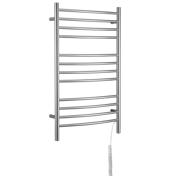 Lustra Dual 12 Curved Bar Hardwired and Plug-in Towel Warmer in Polished Stainless Steel