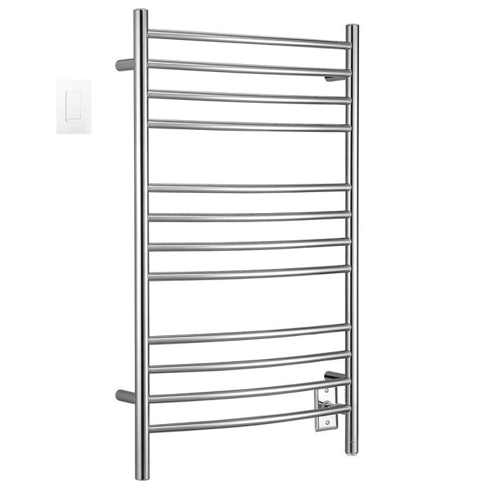 Lustra Dual 12 Curved Bar Hardwired and Plug-in Towel Warmer in Polished Stainless Steel with Wifi Wall Timer