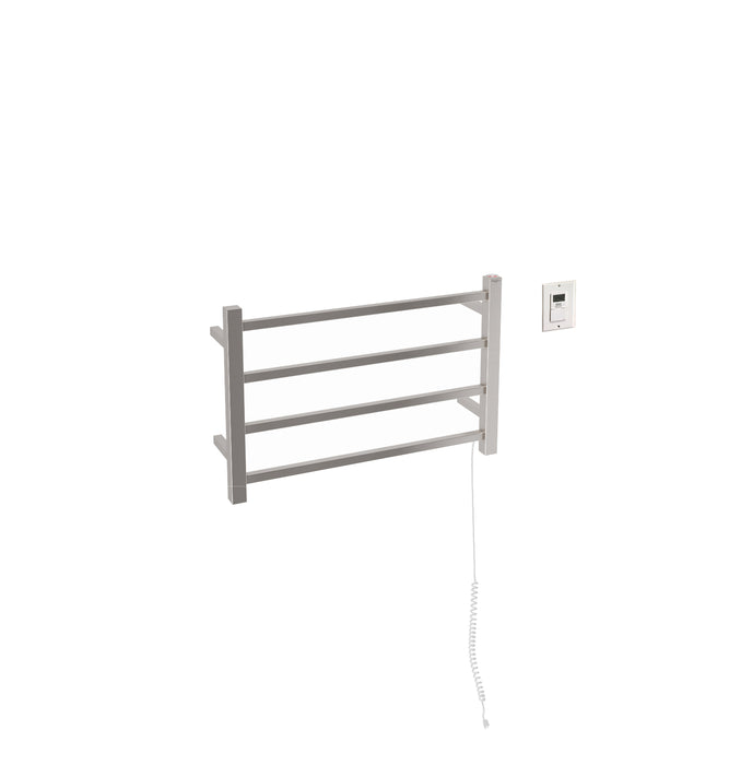 Gala Dual 4-Bar Hardwired and Plug-in Towel Warmer in Brushed Stainless Steel with Timer