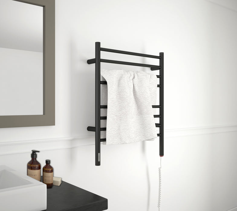 Prestige OBT 8-Bar Wall Mounted Towel Warmer with Integrated On-Board Timer in Matte Black