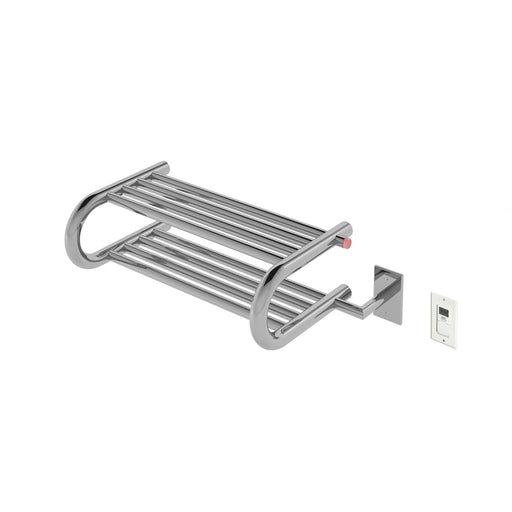 Ancona Essentia Shelf 8-Bar Hardwired and Plug-in Towel Warmer in Polished Stainless Steel with Timer