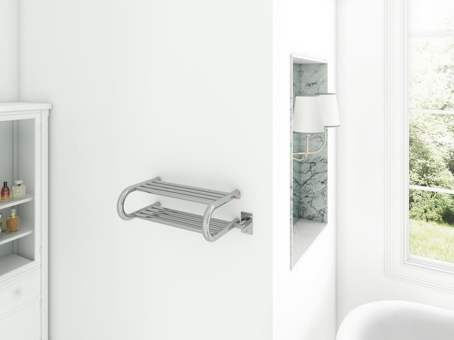 Ancona Essentia Shelf 8-Bar Hardwired and Plug-in Towel Warmer in Polished Stainless Steel