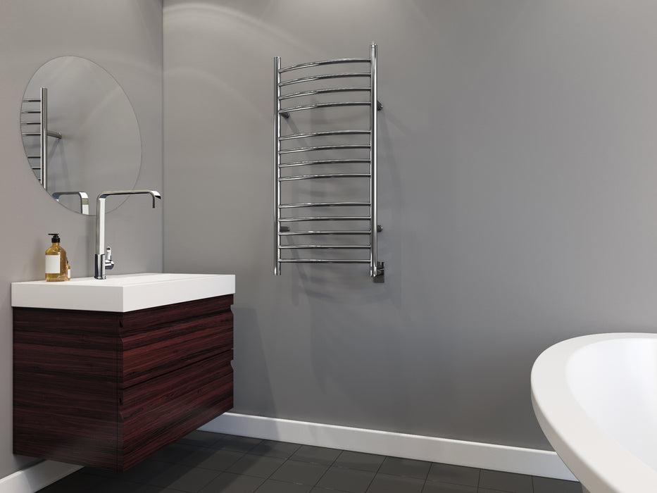 Svelte Rounded 40 in. Hardwired Electric Towel Warmer and Drying Rack in Polished Stainless Steel