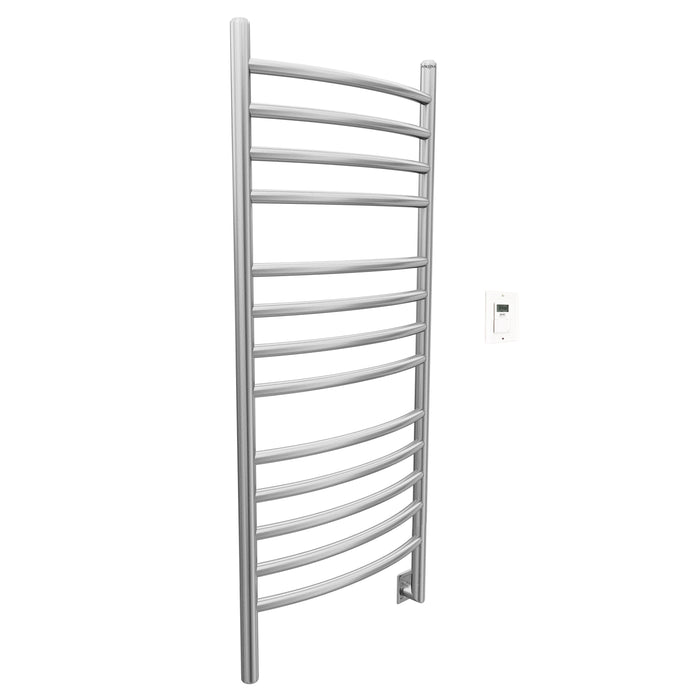 Svelte Rounded 40 in. Hardwired Electric Towel Warmer and Drying Rack in Brushed Stainless Steel with Timer
