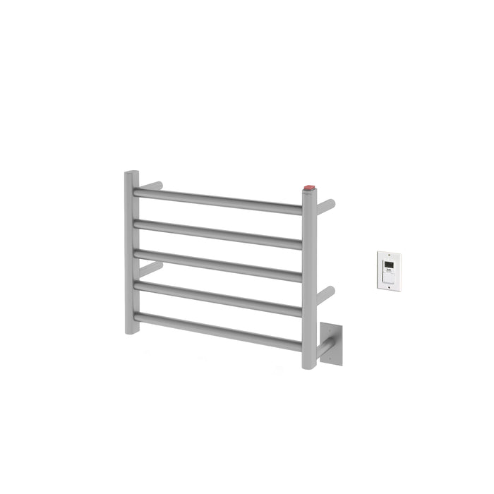 Prima Dual 5-Bar Hardwired and Plug-in Electric Towel Warmer in Brushed Stainless Steel with Timer