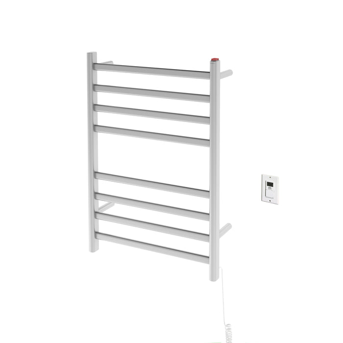 Prima Dual Extended 8-Bar Hardwired and Plug-in Electric Towel Warmer in Brushed Stainless Steel with Timer