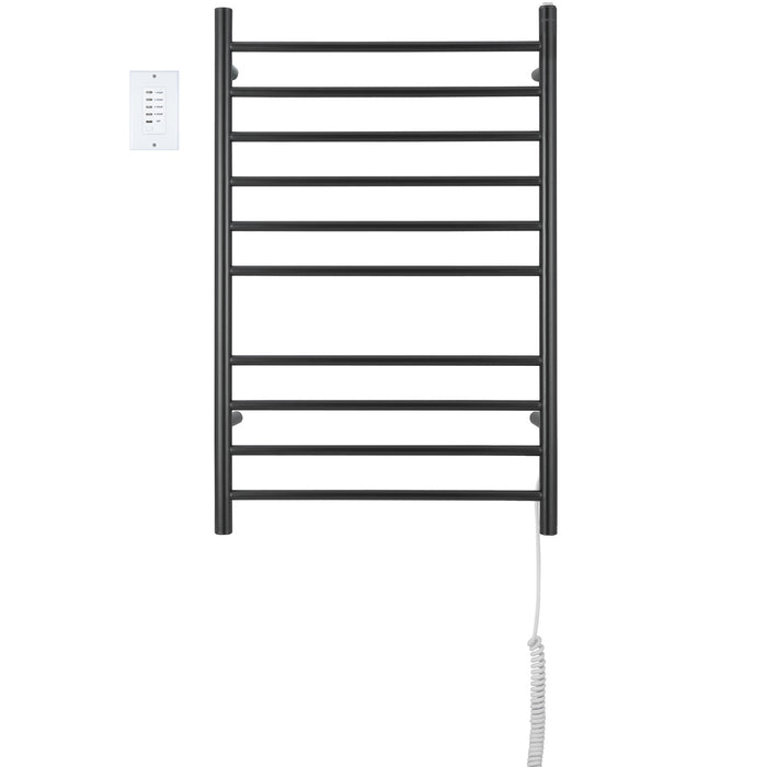 Ancona Novara Dual 10-Bar Wall Mount Towel Warmer in Matte Black Stainless Steel with Wall Countdown Timer