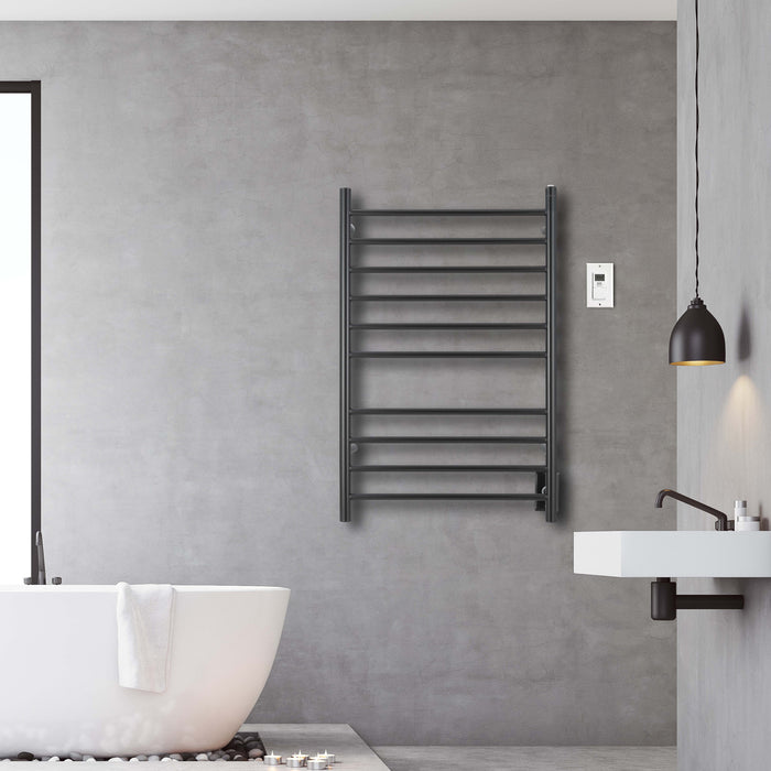 Ancona Novara Dual 10-Bar Wall Mount Towel Warmer in Matte Black with Digital Wall Timer