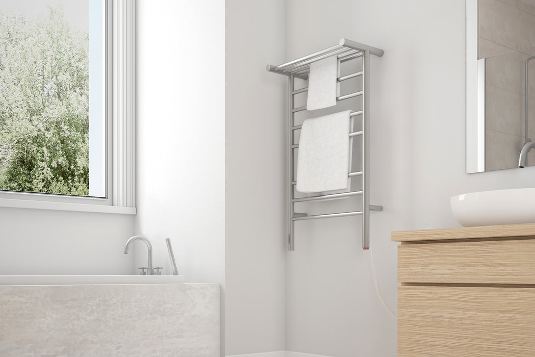 Liazzo OBT 8-Bar Hardwired and Plug-in Electric Towel Warmer with Integrated On-Board timer in Brushed Stainless Steel