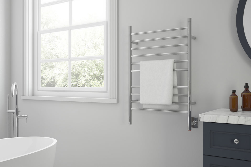 Argenta OBT 10-Bar Hardwired and Plug-in Electric Towel Warmer with Integrated On-Board timer in Polished Stainless Steel