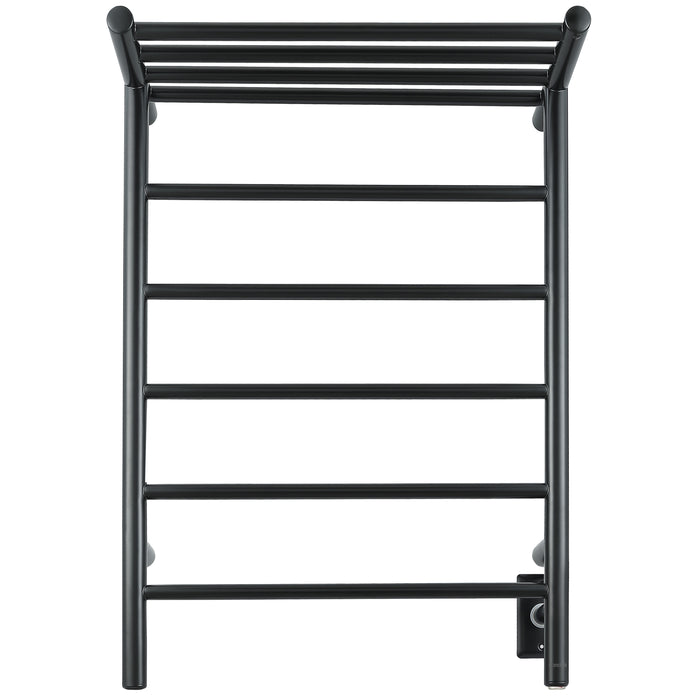 Miazzo 5-Bar Electric Wall Mount Plug-In and Hardwire Towel Warmer with Shelf in Matte Black