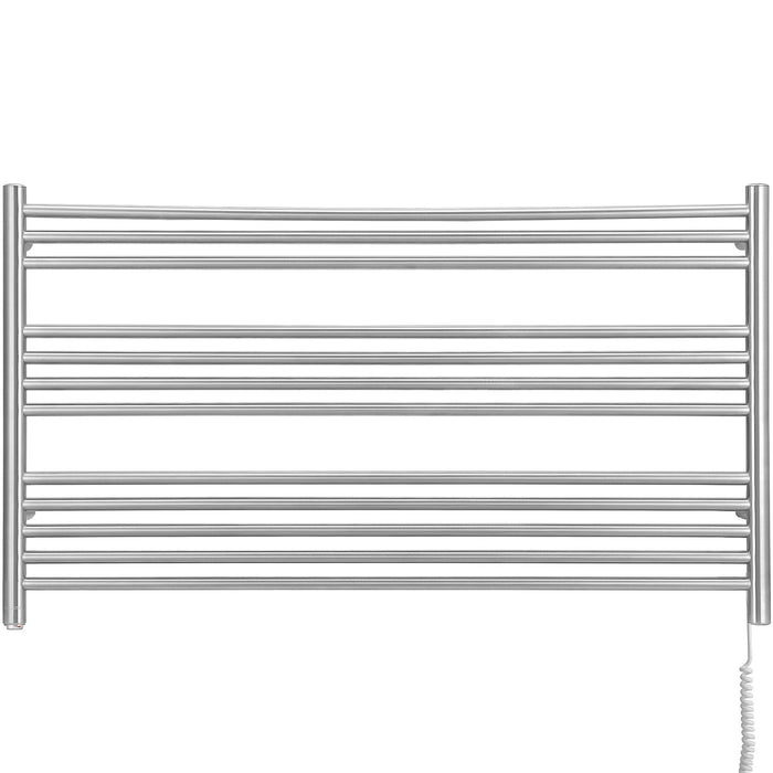 Amplia Dual 12-Bar Hardwired and Plug-in Towel Warmer in Brushed Stainless Steel