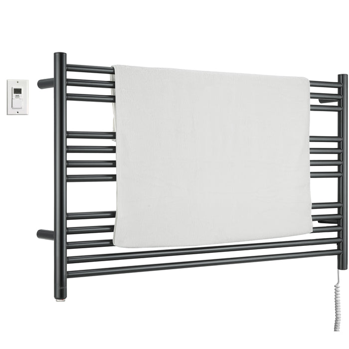 Ancona Amplia Dual 12-Bar Hardwired and Plug-in Towel Warmer in Matte Black with Digital Wall Timer