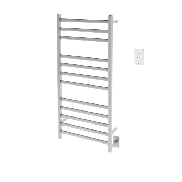 Prima Dual XL 12-Bar Hardwired and Plug-in Electric Towel Warmer in Brushed Stainless Steel with Wall Countdown Timer
