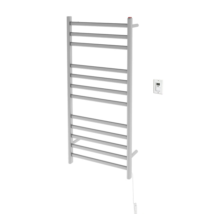 Prima Dual XL 12-Bar Hardwired and Plug-in Towel Warmer in Brushed Stainless Steel with Timer