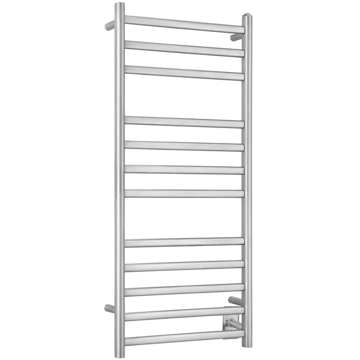 Prima Dual XL 12-Bar Hardwired and Plug-in Electric Towel Warmer in Brushed Stainless Steel