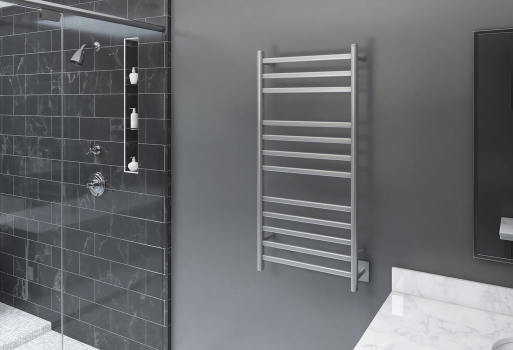 Ancona Prima Dual XL 12-Bar Hardwired and Plug-in Electric Towel Warmer in Brushed Stainless Steel