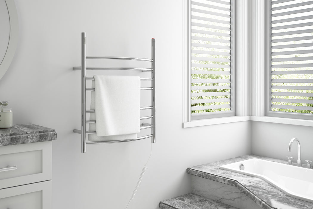 Imperia OBT 3 in 1, 8-Bar Towel Warmer with Integrated On-Board Timer in Polished Stainless Steel