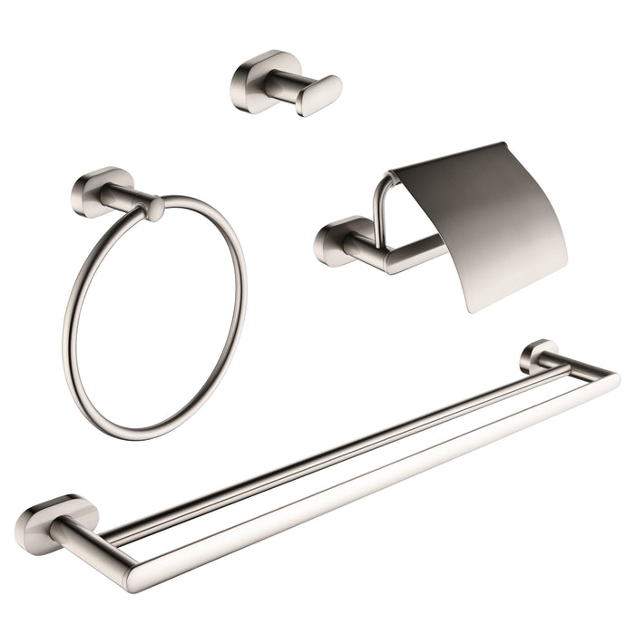 Aria 4-piece Bathroom Accessory Set in Brushed Nickel