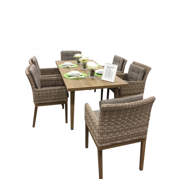 Torcello Collection 7-piece Aluminum Rattan Dining Set