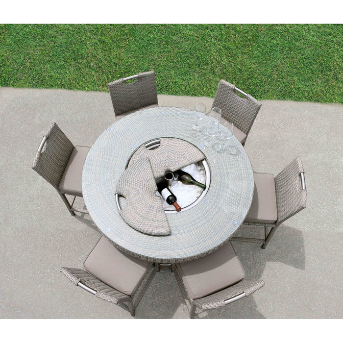 Bellariva Collection 7-Piece Aluminum Rattan Patio Dining Set