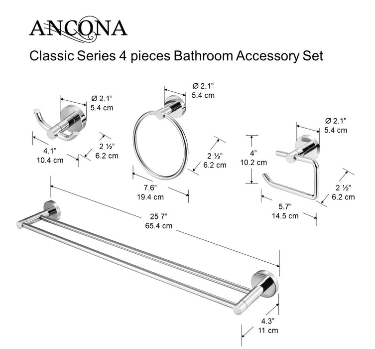 Classic Series 4 Piece Bathroom Accessory Set
