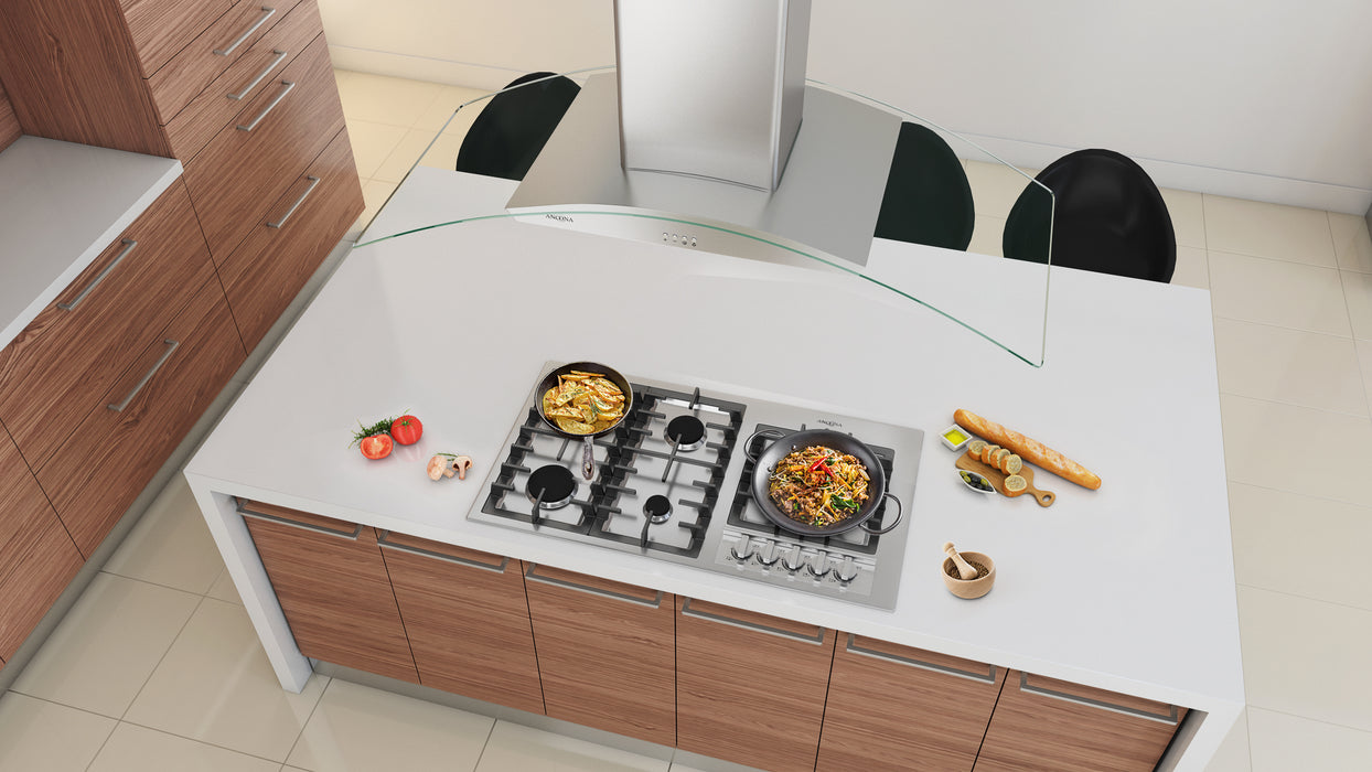 Elite 36-Inch 5-Burner Gas Cooktop with Wok Pan Support
