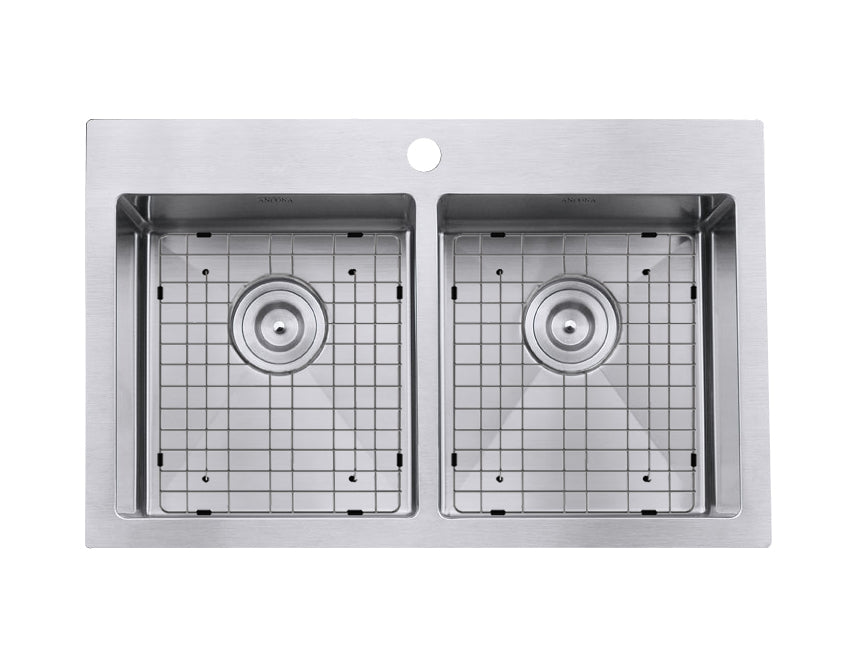 Prestige Series Drop-in Stainless Steel 30 in. 1-Hole 50/50 Double Bowl Kitchen Sink with Grids and Strainers