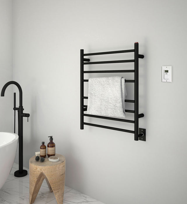 Ancona Prestige Dual 8-Bar Hardwired and Plug-in Towel Warmer in Matte Black Stainless Steel with Timer