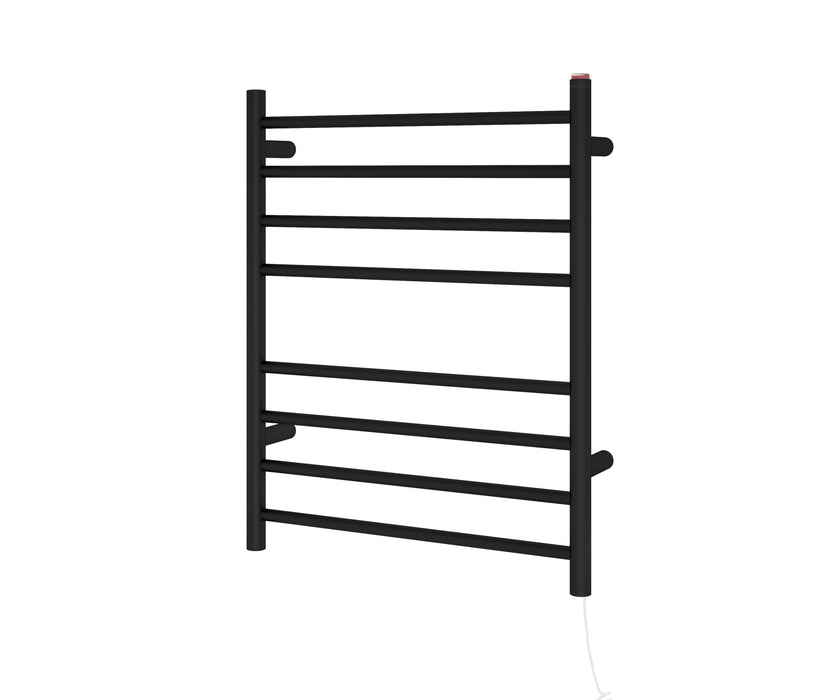 Ancona Prestige Dual 8-Bar Hardwired and Plug-in Towel Warmer in Matte Black Stainless Steel