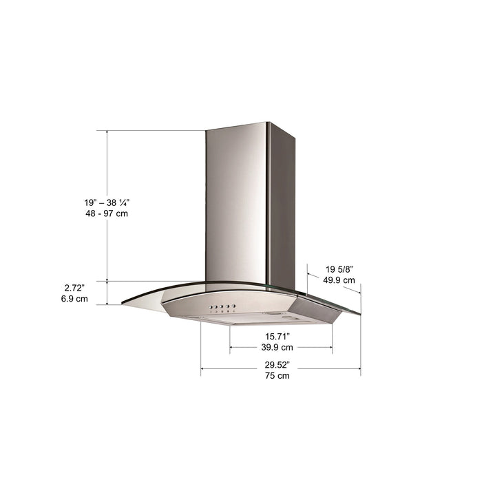 30 in. Ancona Glass Canopy Series 400 CFM Convertible Wall Mount Range Hood
