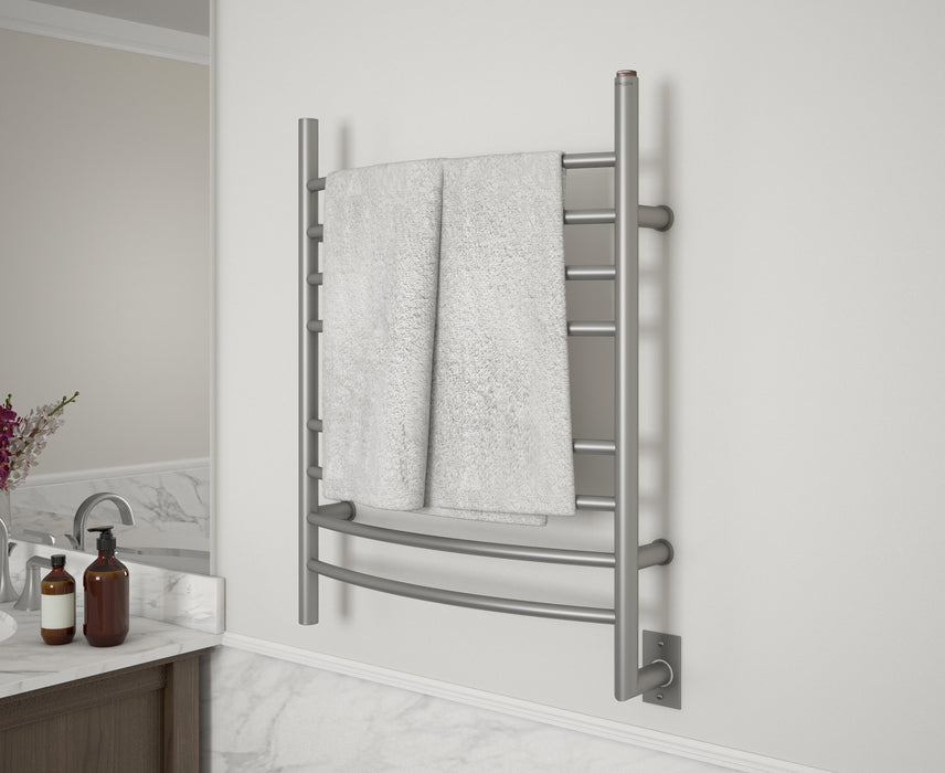 Comfort 8 Ova Hardwire Curved Brushed Stainless-Steel Towel Warmer