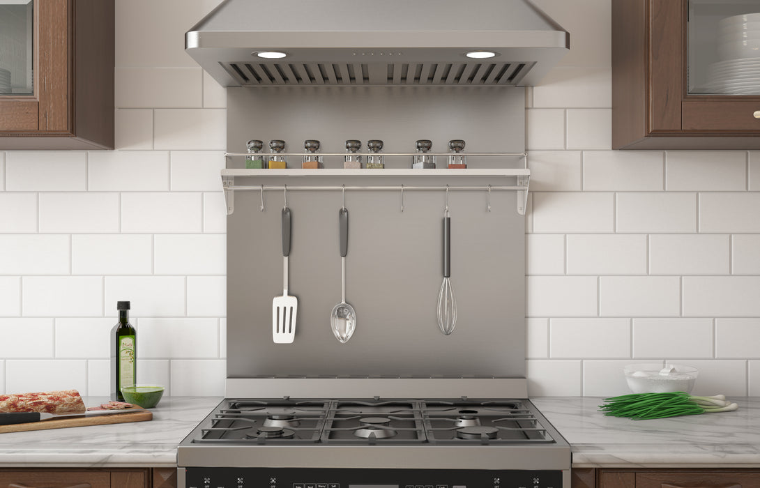 30 in. Stainless Steel Backsplash with Shelf and Rack