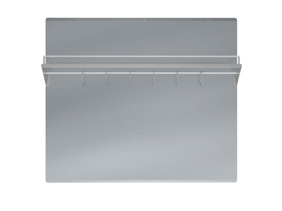 36 in. Stainless Steel Backsplash with Shelf and Rack