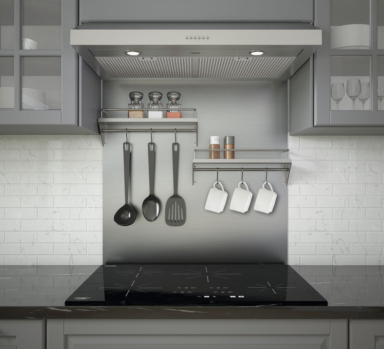 PBS-1238 30 in. Stainless Steel Backsplash with two-tiered shelf and rack