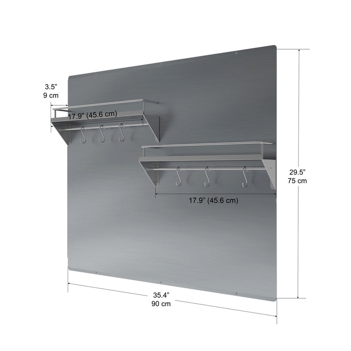PBS-1240 36 in. Stainless Steel Backsplash with two-tiered shelf and rack