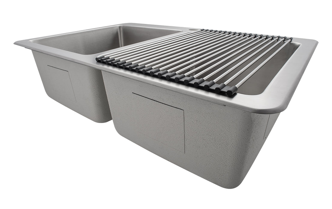 Multipurpose Over the Sink Roll-up Dish Drying Rack in Stainless Steel