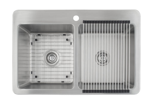 Valencia Series 33 in. x 22 in. Double Bowl Dual-Mount Kitchen Sink