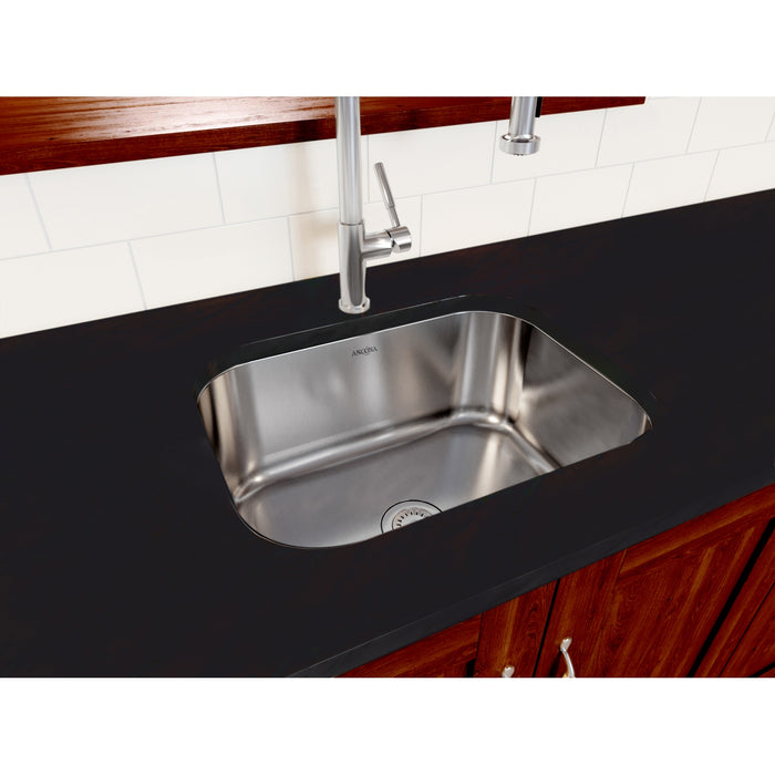 Capri Series Undermount Stainless Steel 23 in. Single Bowl Kitchen Sink in Satin Finish with Strainer